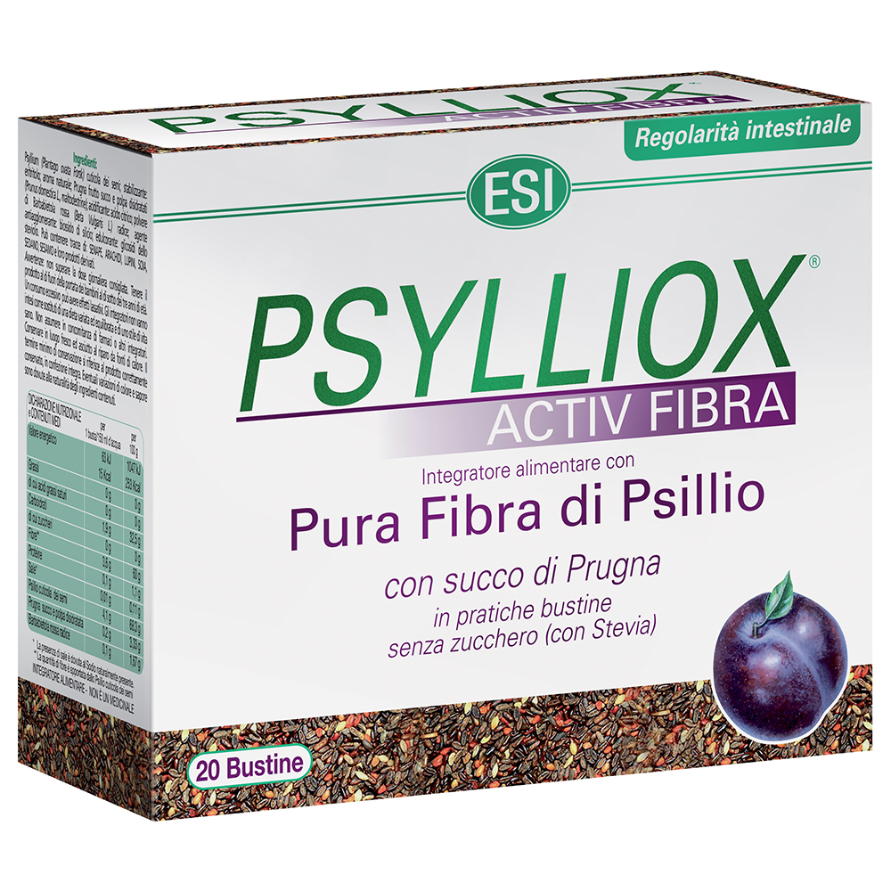 Integratore a base di Psillio e Prugna contro l'intestino pigro