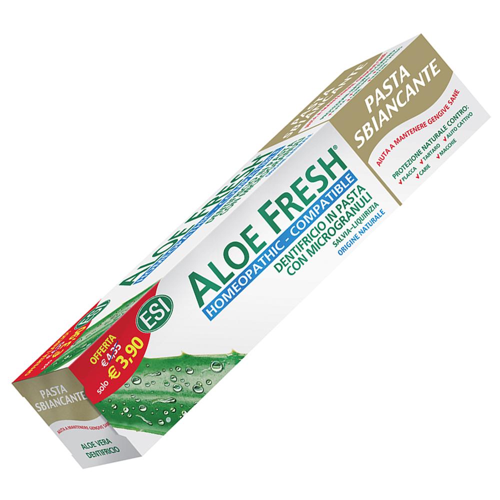 Aloe Fresh Pasta Sbiancante è il dentifricio in pasta con sostanze di origine naturale che contiene una combinazione unica di ingredienti con azione sbiancante e schiarente